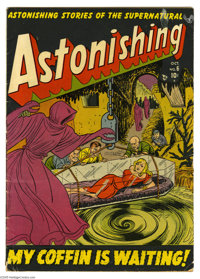 Astonishing #6 (Atlas, 1951) Condition: VG. Eerie girl-in-glass-coffin cover. Last Marvel Boy, but there's plenty of him...