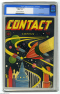 Golden Age (1938-1955):Science Fiction, Contact Comics #12 (Aviation Press, 1946) CGC FN/VF 7.0 Light tanto off-white pages. Classic L. B. Cole sci-fi cover. Sky R...