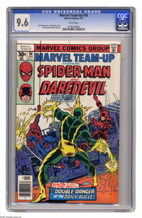 Marvel Team-Up #56 (Marvel, 1977) CGC NM+ 9.6 White pages. Spider-Man and Daredevil. John Romita Jr. cover. Sal Buscema...