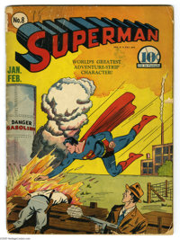 Superman #8 (DC, 1941) Condition: GD. Fred Ray provided the cover art. Interior art by Wayne Boring, Joe Shuster, and Pa...