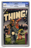 Golden Age (1938-1955):Horror, The Thing! #16 (Charlton, 1954) CGC FN+ 6.5 Off-white pages. DickAyers and Joe Shuster art. Contains an injury to eye panel...