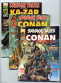 Bronze Age (1970-1979):Miscellaneous, Savage Tales Group (Marvel, 1974-75) Condition: Average NM-.Five-issue lot includes #4 (Conan story; Neal Adams cover, Adam...(5 Comic Books)