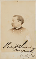 Military & Patriotic:Indian Wars, General Phil Sheridan: An Autographed Carte de Visite. ...