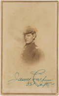Military & Patriotic:Indian Wars, Lieutenant James Calhoun: A Rare Autographed Carte de Visite ofCuster's Brother-in-Law, who Perished with Him at Little Bigho...