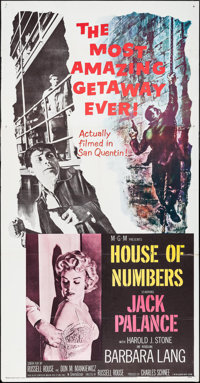 """House of Numbers & Others Lot (MGM, 1957). Three Sheet (41"""" X 78""""), Lobby Card Set of 8 (11"""" X 14&quo..."""