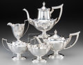 Silver Holloware, American:Tea Sets, A Five-Piece Gorham Plymouth Pattern Silver Tea and CoffeeService, Providence, Rhode Island, designed 1911, man... (Total: 5Items)