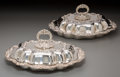 Silver Holloware, British:Holloware, A Pair of John Pound & Co. Silver-Plated Covered Vegetable Dishes, circa 1905. Marks: JP&Co, (crossed keys), 3601. 5... (Total: 2 Items)