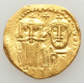 Ancients:Byzantine, Ancients: Heraclius (AD 610-641) and Heraclius Constantine.AVsolidus (4.26 gm). AU, clipped, graffito....