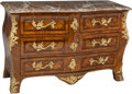 Furniture , A French Régence Mahogany, Burlwood, Gilt Bronze, and Marble Commode, 18th century. 35-3/4 h x 54-1/4 w x 22 d inches (90.8 ... (Total: 3 Items)