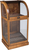 Furniture , A Toronto Showcase Co. Glazed Oak Cane Display Cabinet, late 19th-early 20th century. 44-1/2 h x 23-1/2 w x 20-1/2 d inches ...
