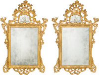 A Monumental Pair of Italian Rococo-Style Carved Giltwood Mirrors with Venetian Glass Panels, 18th century 81-1/4
