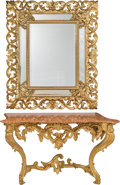 Furniture : Continental, A Rococo-Style Carved Giltwood Console Table and Mirror, 19thcentury. 31 h x 55 w x 23-1/2 d inches (78.7 x 139.7 x 59.7 cm...(Total: 3 Items)