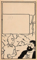 Original Comic Art:Panel Pages, Hergé Tintin: Le Temple du Soleil Planche 38 Panneau 4(Journal Tintin, 1947)....