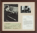 Entertainment Collectibles:Music, George Gershwin Check Engrossed in His Hand and Signed....