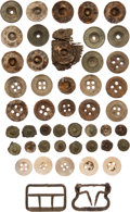 Military & Patriotic:Indian Wars, John Sivertsen: An Assortment of Clothing Buttons, Snaps, and Buckles Found Among His Effects Along the Reno Retreat Route....