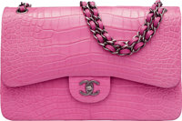 Chanel Matte Dark Pink Alligator Jumbo Classic Double Flap Bag with Ruthenium Hardware Condition: 1
