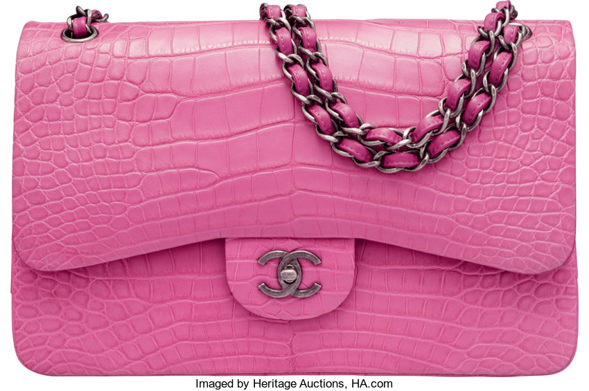 83ab954b4938 Chanel Matte Dark Pink Alligator Jumbo Classic Double Flap Bag