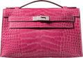 "Luxury Accessories:Bags, Hermes Fuchsia Alligator Kelly Pochette Bag with Palladium Hardware. P Square, 2012. Condition: 2. 8.5"" Width x 5""..."