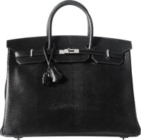 Hermes 40cm Shiny Black Niloticus Lizard Birkin Bag with Palladium Hardware A, 2017 Condition: 1<