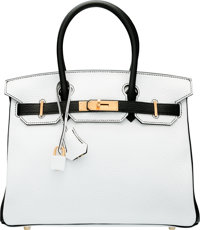 Hermes Special Order Horseshoe 30cm White  amp  Black Clemence Leather Birkin  Bag with Gold Hardware 47abe08dbf