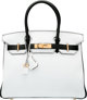 Hermes Special Order Horseshoe 30cm White & Black Clemence Leather Birkin Bag with Gold Hardware A, 2017 Conditi...