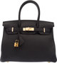 """Hermes 30cm Black Togo Leather Birkin Bag with Gold Hardware X, 2016 Condition: 1 12"""" Width x 8"""" Height x 6&qu..."""