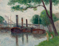 Works on Paper, Maximilien Luce (French, 1858-1941). Les bords de la Seine près de la Roche-Guyon, 1935. Oil on paper laid on canvas. 14...