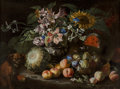 Fine Art - Painting, European:Antique  (Pre 1900), Abraham Brueghel (Flemish, 1625-1690). A still life of fruit andflowers in a footed gadrooned silver vase with a spaniel ...