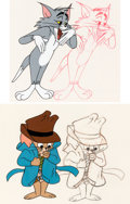 Animation Art:Production Cel, Tom and Jerry Production Cels and Matching AnimationDrawings Group of 4 (MGM, c. 1960s).... (Total: 4 Items)