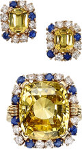 Estate Jewelry:Suites, Ceylon Yellow Sapphire, Diamond, Sapphire, Gold Jewelry Suite . ... (Total: 2 Items)