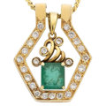 Estate Jewelry:Pendants and Lockets, Emerald, Diamond, Gold Pendant-Necklace. ... (Total: 3 Items)