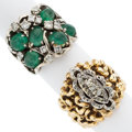 Estate Jewelry:Rings, Emerald, Diamond, Platinum-Topped Gold, Gold Rings. ... (Total: 2 Items)