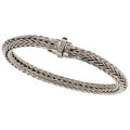 Estate Jewelry:Bracelets, Gentleman's Diamond, White Gold Bracelet, Unoaerre. ...