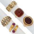 Estate Jewelry:Rings, Ruby, Carnelian, Gold Ring. ... (Total: 5 Items)