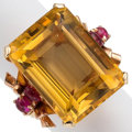 Estate Jewelry:Rings, Citrine, Ruby, Gold Ring. ...