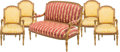 Furniture , A Five-Piece Louis XVI-Style Giltwood Fauteuil and Canapé Suite, 19th century with later upholstery. 38 h x 19-1/2 w x 23 d ... (Total: 5 Items)