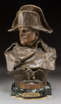 After Renzo Colombo (Italian, 1856-1885) Bust of Napoleon Bonaparte Bronze with brown patina 19-1