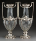 Decorative Arts, Continental:Other , A Large Pair of WMF Cut-Glass and Silver-Plated Figural Urn Vases,Geislingen, Germany, circa 1909-1914. Marks: (Ostrich-WMF...(Total: 2 Items)