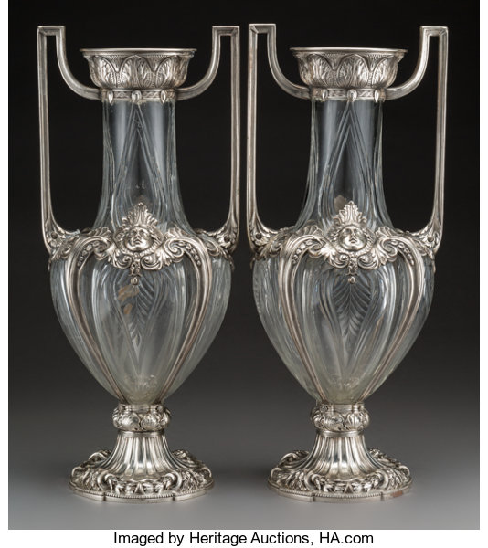 A Large Pair Of Wmf Cut Glass And Silver Plated Figural Urn Lot