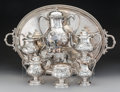 Silver Holloware, American:Tea Sets, A Five-Piece E & D Kinsey Coin Silver Tea and Coffee Servicewith Associated Rogers Bros. Tray and Hot Water Kettle, circa 1...(Total: 7 Items)