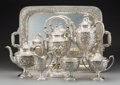 Silver Holloware, American:Tea Sets, A Seven-Piece Manchester Silver Company Silver Floral Repoussé Teaand Coffee Service, Providence, Rhode Island, circa 1920... (Total:8 Items)