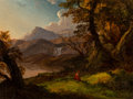 Paintings, Alexandre René Veron (French, 1826-1897) After Thomas Cole (American, 1801-1848). Landscape with Waterfall. Oil on canva...