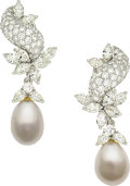 Estate Jewelry:Earrings, Diamond, South Sea Cultured Pearl, Platinum, White Gold Earrings . ...