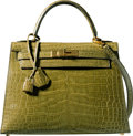"Luxury Accessories:Bags, Hermes 28cm Shiny Vert Chartreuse Alligator Sellier Kelly Bag with Gold Hardware. Z Circle, 1996. Condition: 4. 11"" Width ..."