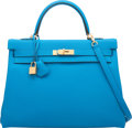 """Luxury Accessories:Bags, Hermes 35cm Blue Zanzibar Togo Leather Retourne Kelly with Gold Hardware. A, 2017. Condition: 1. 14"""" Width x 10"""" Height x ..."""