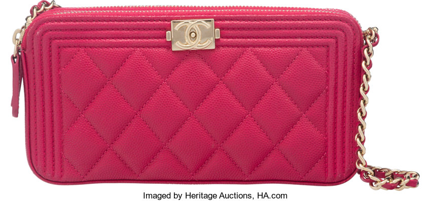 84b9b4cfb163 Chanel Pink Quilted Caviar Leather Boy Classic Clutch on Chain