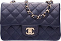 """Luxury Accessories:Bags, Chanel Navy Blue Quilted Lambskin Leather Rectangular Mini Classic Flap Bag with Gold Hardware. Condition: 2. 8"""" Width..."""