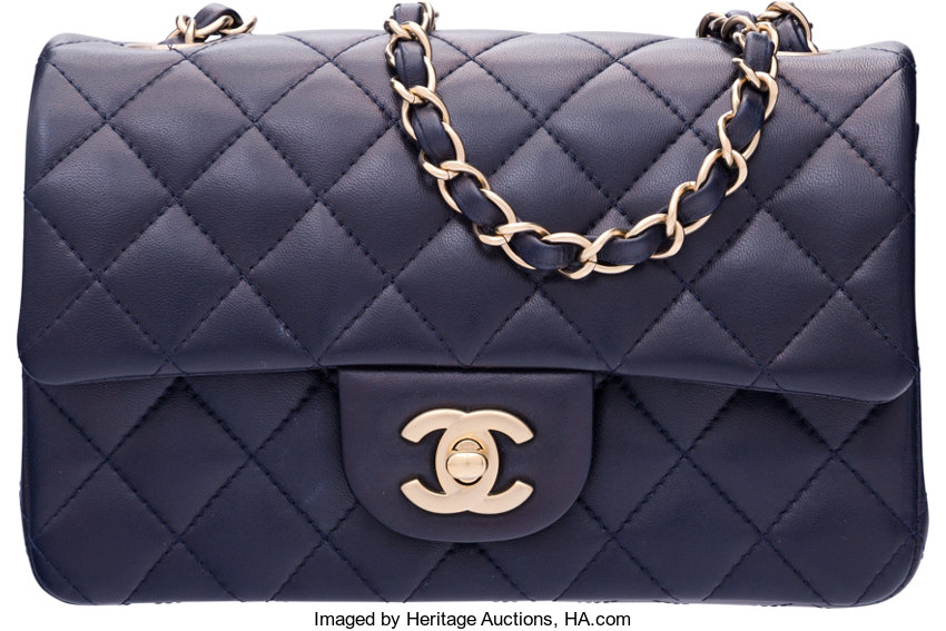 569ca04f4d87 ... Luxury Accessories:Bags, Chanel Navy Blue Quilted Lambskin Leather  Rectangular Mini ClassicFlap Bag with ...