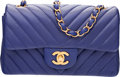 """Luxury Accessories:Bags, Chanel Blue Chevron Quilted Lambskin Leather Rectangular Mini Classic Flap Bag with Gold Hardware. Condition: 1. 8"""" Wi..."""