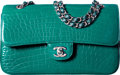 """Luxury Accessories:Bags, Chanel Shiny Emerald Green Alligator Medium Classic Double Flap Bag with Light Gold Hardware. Condition: 1. 10"""" Width x 6""""..."""